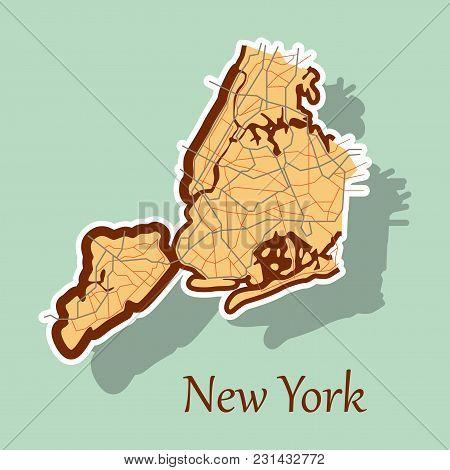 New York City Map - Sticker Illustration Travel, Area, Art