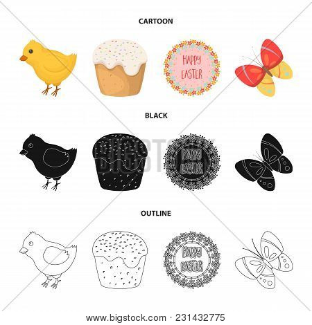 Easter Cake, Chicken, Butterfly And Greeting Sign.easter Set Collection Icons In Cartoon, Black, Out