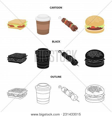 Sandwich, Coffee, Shish Kebab, Burger.fast Food Set Collection Icons In Cartoon, Black, Outline Styl