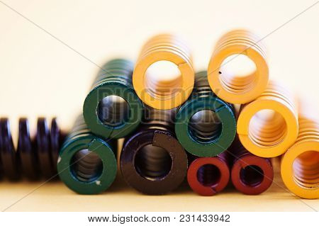 Abstract Steel Spiral Coil Springs Collection Set. Different Hardness Flexibility Size Colorful Obje