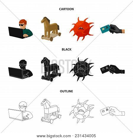 Hacker, Hacking, System, Internet .hackers And Hacking Set Collection Icons In Cartoon, Black, Outli