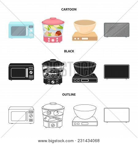 Steamer, Microwave Oven, Scales, Lcd Tv.household Set Collection Icons In Cartoon, Black, Outline St