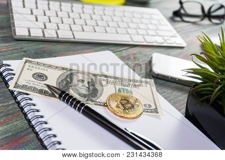 Bitcoin In A Business Office. Bitcoin Golden Coin New Virtual Money