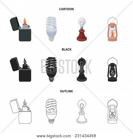 Lighter, Economical Light Bulb, Edison Lamp, Kerosene Lamp.light Source Set Collection Icons In Cart