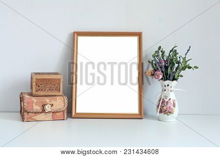 Mockup 8x10 - Wooden Frame With Boxes And Flowers. Portrait Orientation.
