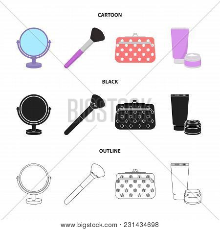 Table Mirror, Cosmetic Bag, Face Brush, Body Cream.makeup Set Collection Icons In Cartoon, Black, Ou