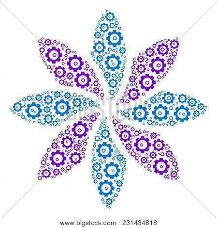 Abstract Flower Mosaic Of Gearwheels. Vector Gear Wheel Elements Are Combined Into Abstract Flower C
