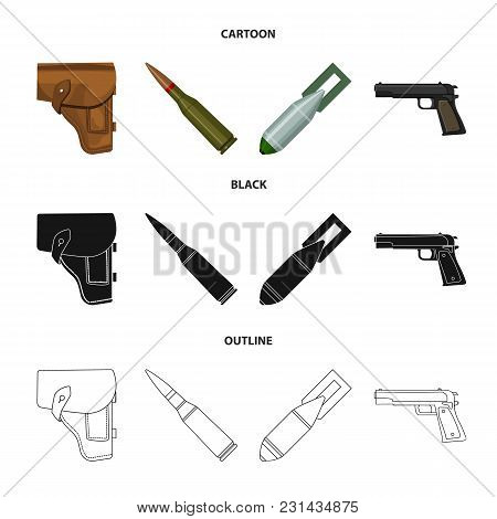 Holster, Cartridge, Air Bomb, Pistol. Military And Army Set Collection Icons In Cartoon, Black, Outl
