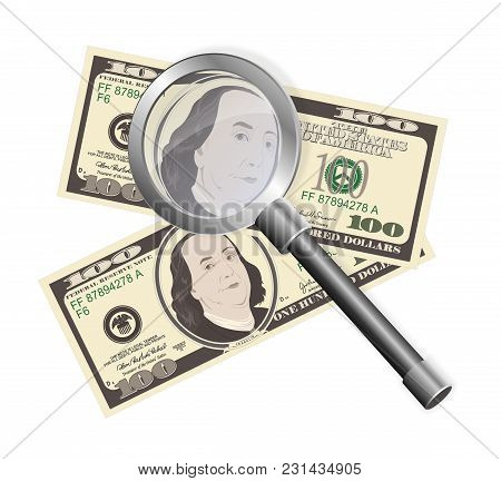 Close Up View Of American Hundred Dollar Bills With Magnifier. Money Background For Your Business Co