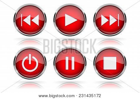 Media Buttons. Red Round Glass Buttons With Chrome Frame. Vector 3d Illustration Isolated On White B
