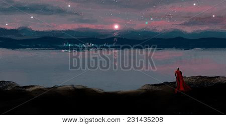 Magician In Red Coat Looking To Night City In Moon Light, Digital Painting