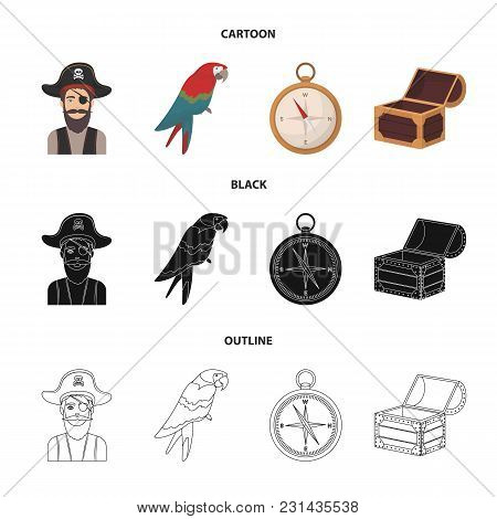 Pirate, Bandit, Hat, Bandage .pirates Set Collection Icons In Cartoon, Black, Outline Style Vector S