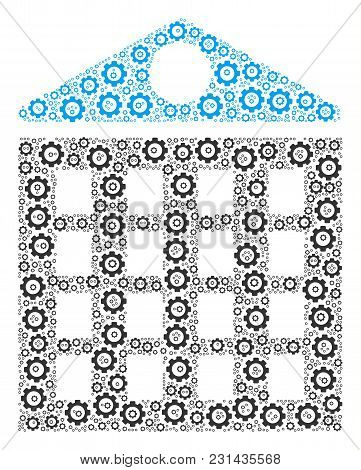 Apartment House Collage Of Cog Wheels. Vector Cog Wheel Elements Are Composed Into Apartment House C