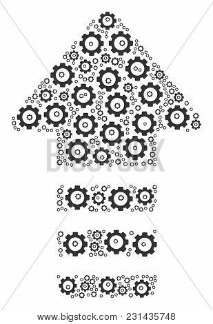 Arrow Pointer Composition Of Cog Wheels. Vector Tooth Gear Items Are Composed Into Arrow Pointer Fig