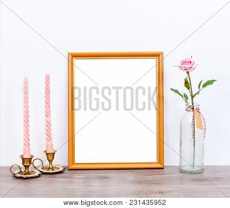 Minimalistic Mockup 8x10 With Pink Candles And Rose Flower On Gray Rustic Table. Portrait Orientatio