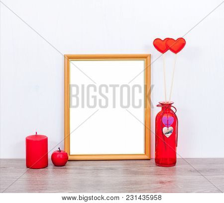 Stylish Mock Up 8X10 With A Red Candle, Red Vase And Hearts