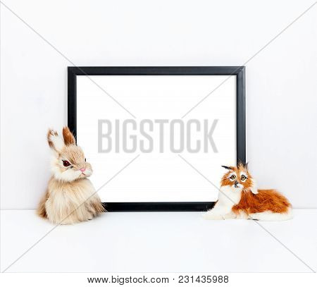 8X10 Thin Black Frame Mock Up With Children's Toys