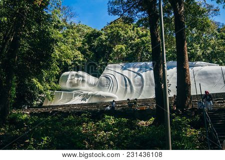 Ta Cu, Phan Thiet, Vietnam - March 7, 2017: Reclining Buddha In Linh Son Truong Tho Pagoda On The Mo