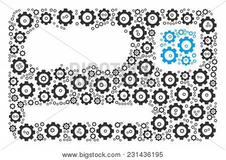 Banking Card Composition Of Cogs. Vector Gear Components Are United Into Banking Card Mosaic.