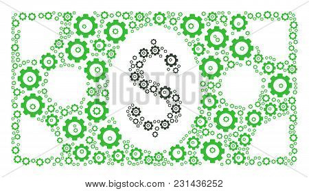 Banknote Mosaic Of Cog Wheels. Vector Mechanical Wheel Parts Are United Into Banknote Collage.