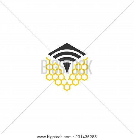 Modern Signal Bee Vector Logo Icon Template