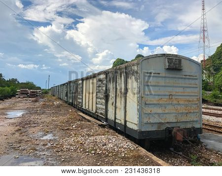 Abandoned Old Rail Freight Train In Thailand
