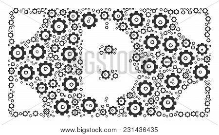 Bitcoin Cash Banknote Mosaic Of Gear Icons. Vector Cog Wheel Pictograms Are Organized Into Bitcoin C
