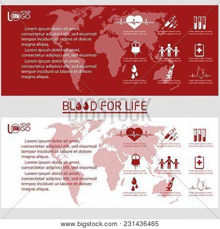 Blood Donor Flyer Design Template. Leaflet Cover Presentation Vector Illustration.