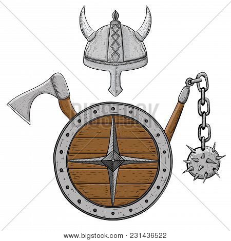 Viking Armor Set - Helmet, Shield, Flail And Axe. Colored Hand Drawn Sketch. Vector Illustration Iso