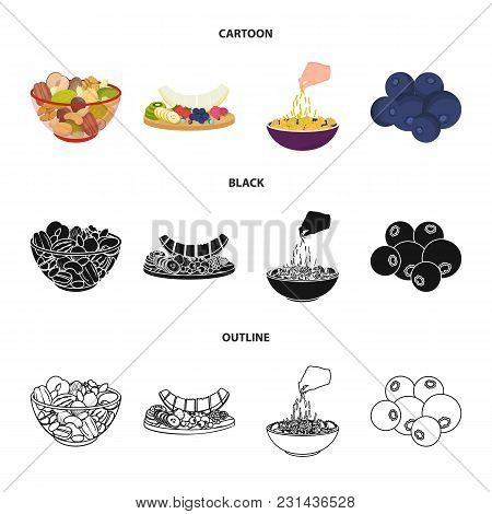 Assorted Nuts, Fruits And Other Food. Food Set Collection Icons In Cartoon, Black, Outline Style Vec