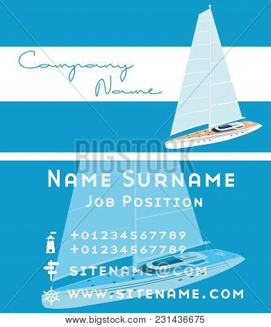 Yacht Club Business Card Design With Sail Boat. Luxury Yacht Race, Sea Sailing Regatta Poster Vector