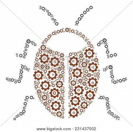Bug Mosaic Of Cog Wheels. Vector Gear Pictograms Are Combined Into Bug Figure.