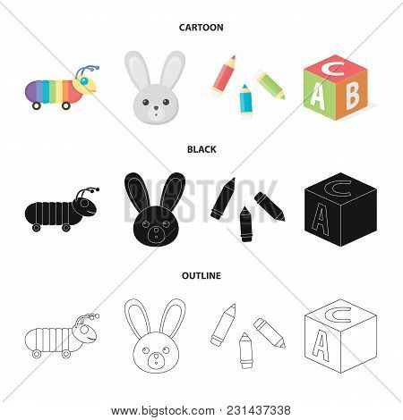 Children Toy Cartoon, Black, Outline Icons In Set Collection For Design. Game And Bauble Vector Symb