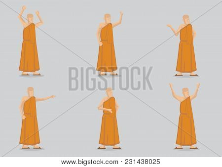Set Of Six Vector Illustration Of Religious Buddhist Monk In Yellow Robe Isolated On Plain Backgroun