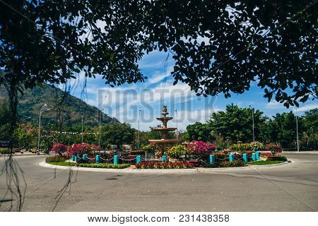 Phan Thiet, Vietnam - March 7, 2017: Flower Bed At The Foot Of Mount Ta Cu In And Around Phan Thiet,
