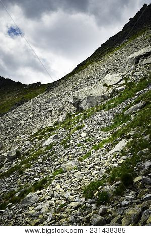 Nature Background Scree Stone Field In The Mountains