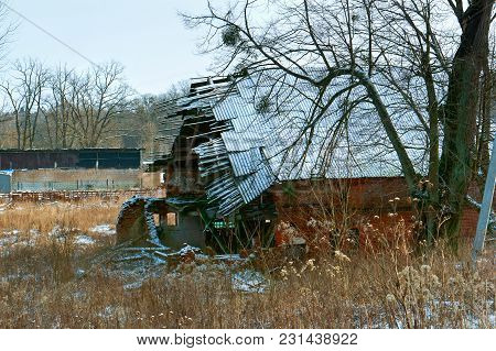 The Old Destroyed House, The Broken Collapsed Roof Of The House, The Abandoned House, The Walls And