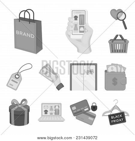 E-commerce, Purchase And Sale Monochrome Icons In Set Collection For Design. Trade And Finance Vecto