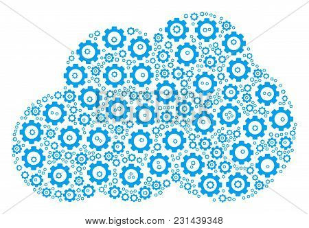 Cloud Mosaic Of Cog Wheels. Vector Gear Wheel Items Are Organized Into Cloud Shape.