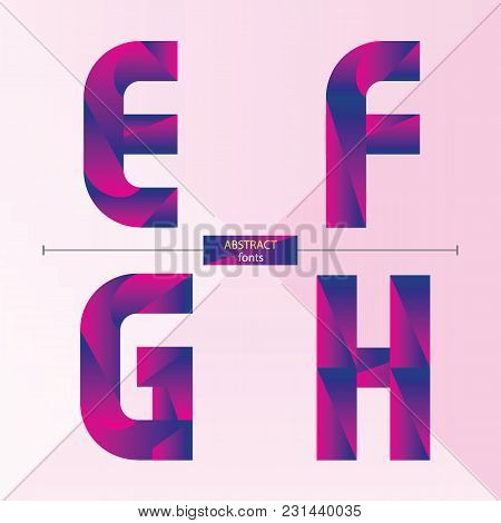 Vector Graphic Alphabet In A Set E,f,g,h, With Purple Color Geometric Style