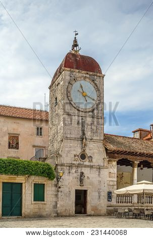 Loggia And Clock Tower On Central Square In Trogir, Croatia
