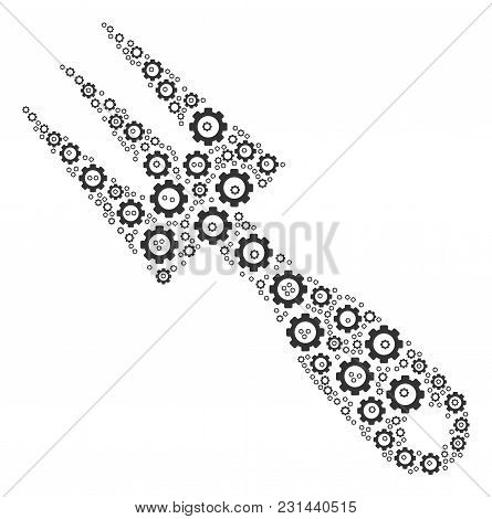 Cultivator Rake Collage Of Gear Elements. Vector Gear Symbols Are Composed Into Cultivator Rake Patt