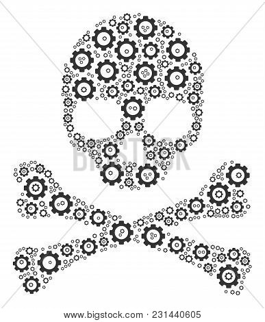 Death Skull Composition Of Gearwheels. Vector Gear Icons Are Organized Into Death Skull Collage.