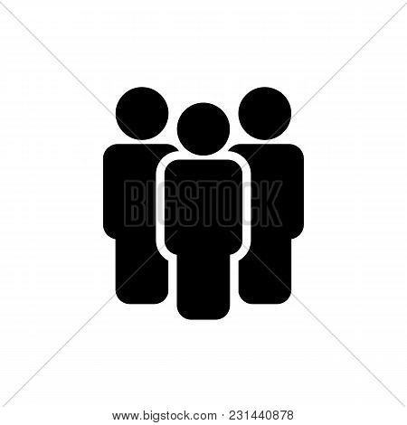 People Icon. Vector Team Sign Isolated On White Background. Men Simbol In Flat Style. Simple Abstrac