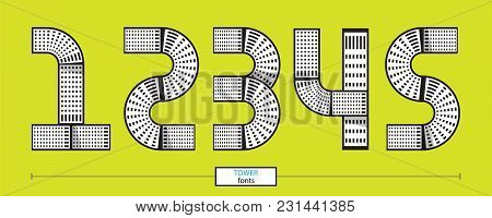 Vector Graphic Numbers In A Set 1,2,3,4,5, With Tower Line Design Style