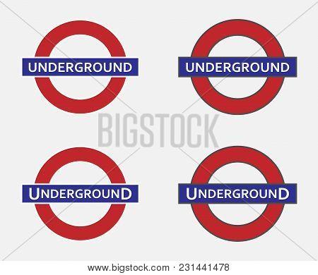 Underground Sign In England, Uk Station Logo