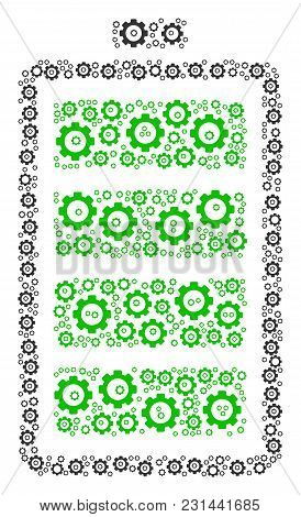 Electric Battery Collage Of Mechanical Wheels. Vector Gear Parts Are Grouped Into Electric Battery C