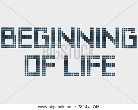 Text Beginning Of Life. Old Computer Font, Squares, Staircase Effect. Pixel Square Font. Vector Alph