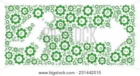 Emergency Exit Mosaic Of Gear Components. Vector Gear Parts Are Organized Into Emergency Exit Illust