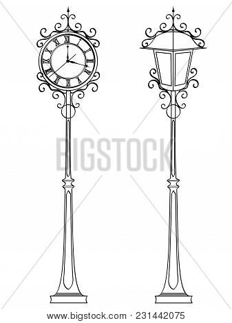 Set Bronze Vintage Street Clock With Arabic Numerals And Lamp. Object Coloring Book Illustration.